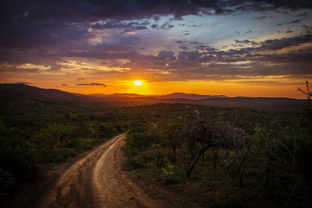 dirt road, mountains, sunset